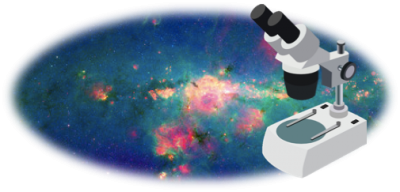 A cartoon microscope over an image of our Galaxy's Center.