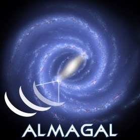 """The ALMAGAL logo, an image of the Milky Way with radio antennas and the word """"ALMAGAL"""" on top."""