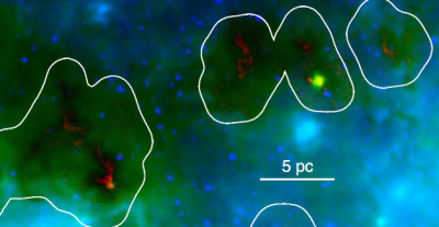 A three color image of clouds in our Galactic Center.